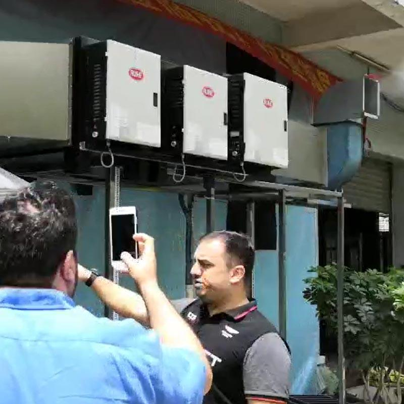 Iraq customer Tested Double Pass Electrostatic Precipitator for Barbeque / Grilling Smoke, Grease Filtration
