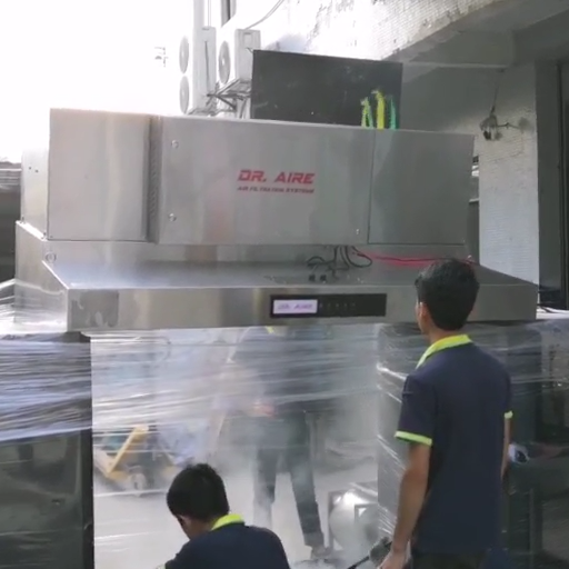 Smoke Grease Removal Test For Commercial Kitchen Extractor Range Hood With Electrostatic Precipitator
